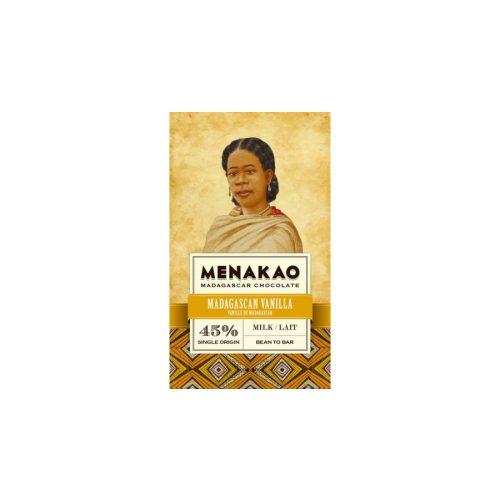 Menakao tejcsokoládé tábla 45%-madagaszkári vanília 75g
