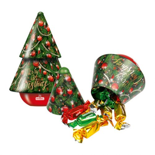 Windel zenélő karácsonyfa fémdoboz csokoládéval 150g