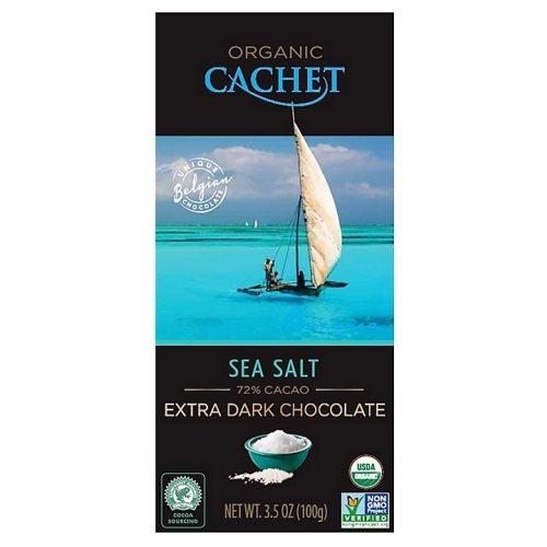 Cachet bio étcsokoládé tábla 72%-tengeri só 100g 416082