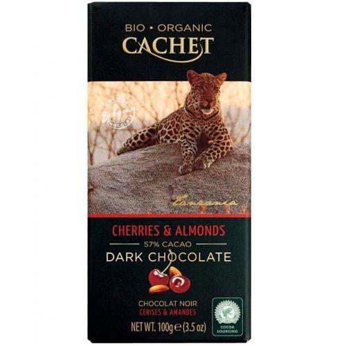 Cachet bio étcsokoládé tábla 57%-cseresznye és mandula 100g 416084