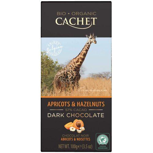 Cachet bio étcsokoládé tábla 57%-sárgabarack és mogyoró 100g 416085