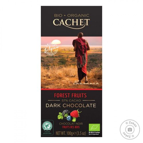 Cachet bio étcsokoládé tábla 57%-erdei gyümölcs 100g 416086