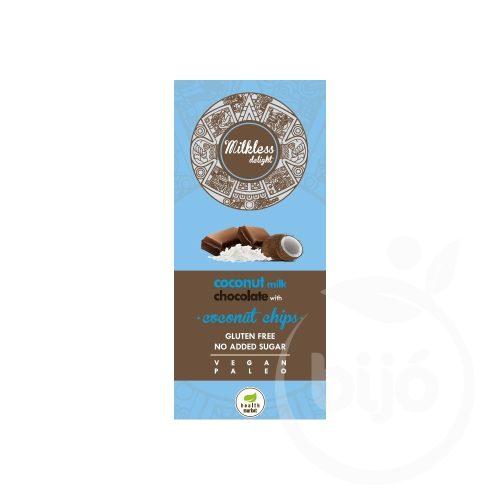 Health Market Milkless delight kókuszchipses kókusztejes csokoládé édesítőszerrel 80g