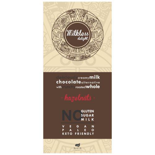 Milkless Delight kakaós tábla egész pörkölt mogyoróval, édesítőszerrel 80g