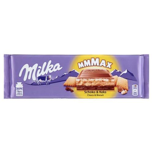 Milka Mmmax alpesi tejcsokoládé kakaós-tejes krémtöltelékkel és keksszel töltve 300 g