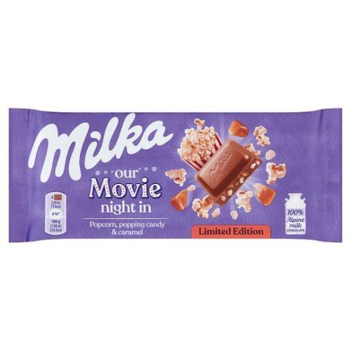Milka Limitált kiadás Movie night karamellizált popcornos sós karamellás tejcsokoládé 90 g
