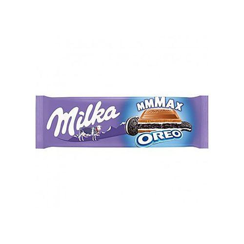 Milka Mmmax Oreo alpesi tejcsokoládé vanília ízű tejes krémtöltelékkel és kakaós keksszel 300 g