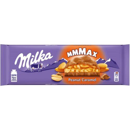 Milka Mmmax földimogyorós-karamellás alpesi tejcsokoládé földimogyoró darabokkal és rizzsel 276g