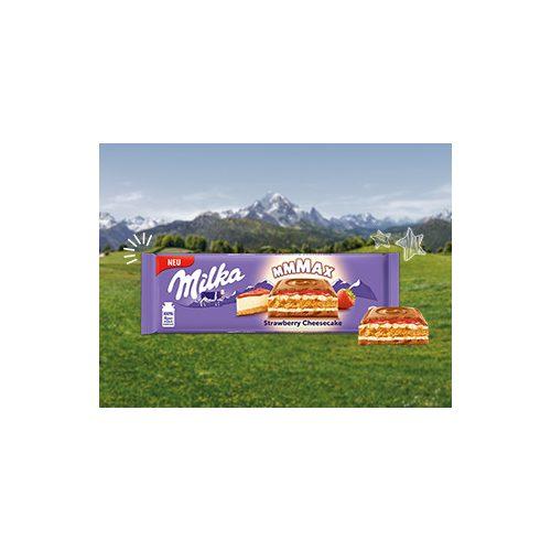 Milka Mmmax alpesi tejcsokoládé sajttorta ízű krémtöltelékkel (35%) epres töltelékkel (11%) és keksszel (13%) 300 g