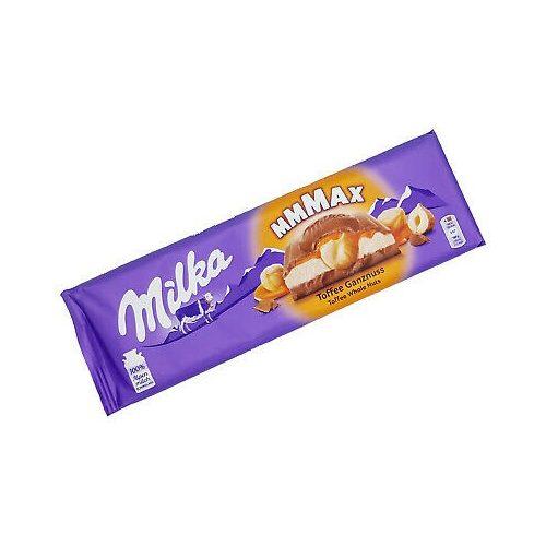 Milka Mmmax alpesi tejcsokoládé karamell ízű tejes és karamellás töltelékkel, egész mogyoróval 300 g