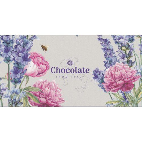 Chocolate from Italy  tejcsokoládé levendula virág design 100g