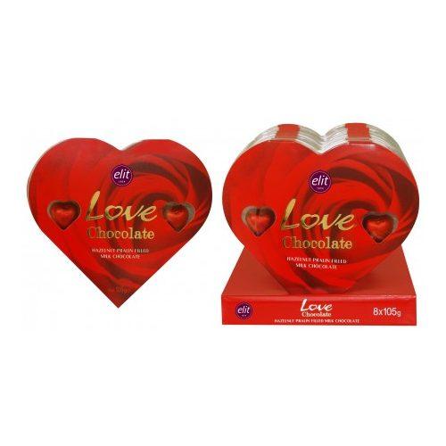 Elit szerelem desszert tejcsokoládé szívecskék mogyorókrémmel
