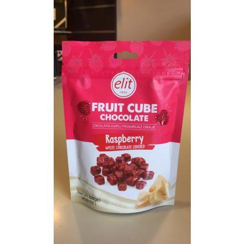 Elit Fruit Cube fehércsokoládés és étcsokoládés málnazselés kocka 120g